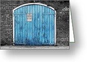 Travelpixpro Greeting Cards - Colorful Blue Garage Door French Quarter New Orleans Color Splash Black and White and Poster Edges Greeting Card by Shawn OBrien