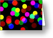 Light Green Digital Art Greeting Cards - Colorful Bokeh Greeting Card by Mingqi Ge