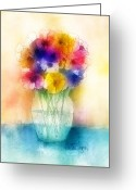 Bouquets Greeting Cards - Colorful Bouquet I Greeting Card by Arline Wagner