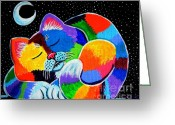 Feline Greeting Cards - Colorful Cat in the Moonlight Greeting Card by Nick Gustafson