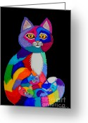 Colorful Drawings Greeting Cards - Colorful Cats and Kittens Greeting Card by Nick Gustafson