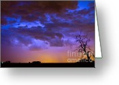 "\""lightning Strike\\\"" Greeting Cards - Colorful Cloud to Cloud Lightning Greeting Card by James Bo Insogna"