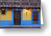 Tiled Roof Greeting Cards - Colorful Colonial Architecture Greeting Card by Jeremy Woodhouse