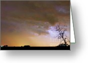 Lightning Weather Stock Images Greeting Cards - Colorful Colorado Cloud to Cloud Lightning Striking Greeting Card by James Bo Insogna