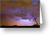 Lightning Weather Stock Images Greeting Cards - Colorful Colorado Cloud to Cloud Lightning Thunderstorm 27 Greeting Card by James Bo Insogna