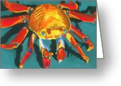 Turquoise Pastels Greeting Cards - Colorful Crab II Greeting Card by Stephen Anderson
