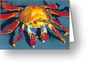 Turquoise Pastels Greeting Cards - Colorful Crab Greeting Card by Stephen Anderson