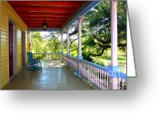Rocking Chairs Greeting Cards - Colorful Creole Porch Greeting Card by Carol Groenen
