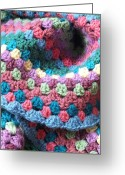 Home Tapestries - Textiles Greeting Cards - Colorful Crochet Greeting Card by Emma Manners