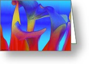Jewel Tones Digital Art Greeting Cards - Colorful Crowd Greeting Card by Michelle Wiarda