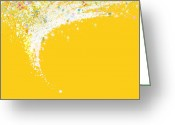 Yellow Line Digital Art Greeting Cards - Colorful Curved Greeting Card by Setsiri Silapasuwanchai