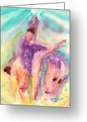 Ballet Art Greeting Cards - Colorful Dance Greeting Card by John Yato