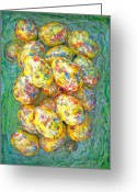 Yellow Sculpture Greeting Cards - Colorful Eggs Greeting Card by Carl Deaville
