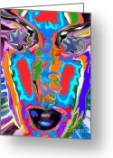 Colourful Mixed Media Greeting Cards - Colorful Face Greeting Card by Chris Butler