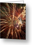 Night Time Greeting Cards - Colorful Fireworks Greeting Card by Garry Gay