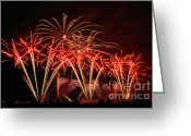 Pyrotechnics Greeting Cards - Colorful fireworks Greeting Card by Nino Rasic
