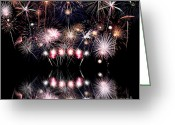 4th Greeting Cards - Colorful Fireworks with Reflection Greeting Card by Stephanie Frey