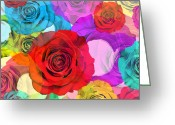 Postcard Greeting Cards - Colorful Floral Design  Greeting Card by Setsiri Silapasuwanchai