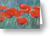Sunflower Studio Art Greeting Cards - Colorful Flowers Red Poppies Beautiful Floral Art Greeting Card by K Joann Russell
