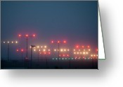 Guidance Greeting Cards - Colorful Fogbound Landing Lights Guide Airplanes Greeting Card by John K. Goodman
