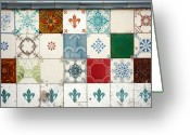 Portugal Art Greeting Cards - Colorful glazed tiles Greeting Card by Gaspar Avila