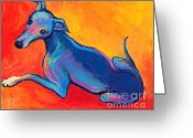 Pet Portrait Drawings Greeting Cards - Colorful Greyhound Whippet dog painting Greeting Card by Svetlana Novikova