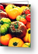 Kitchen Decor Greeting Cards - Colorful Harvest Greeting Card by Cathie Tyler
