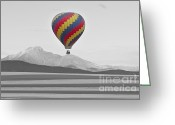 Selective Color Greeting Cards - Colorful Hot Air Balloon and Longs Peak Greeting Card by James Bo Insogna
