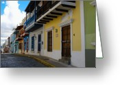 Cobblestone Street Greeting Cards - Colorful Houses along a Cobblestone Street Greeting Card by George Oze