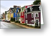 Exterior Buildings Greeting Cards - Colorful houses in Newfoundland Greeting Card by Elena Elisseeva