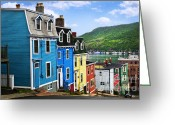 Red Bay Greeting Cards - Colorful houses in St. Johns Greeting Card by Elena Elisseeva