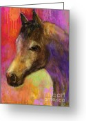 Pensive Greeting Cards - Colorful impressionistic pensive horse painting print Greeting Card by Svetlana Novikova