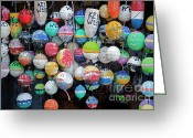 Ropes Greeting Cards - Colorful Key West Lobster Buoys Greeting Card by John Stephens