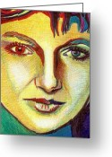 Ball Point Pen Greeting Cards - Colorful Lady Greeting Card by Jerry  Stith