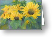 Sunflower Studio Art Greeting Cards - Colorful Original Painting of Sunflowers Sunflower Art Greeting Card by K Joann Russell