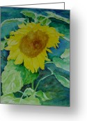 Sunflower Studio Art Greeting Cards - Colorful Original Watercolor Sunflower Greeting Card by K Joann Russell