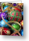 25th Greeting Cards - Colorful ornaments with ribbon Greeting Card by Garry Gay