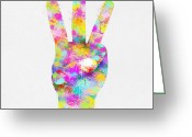 Signal Greeting Cards - Colorful Painting Of Hand Point Three Finger Greeting Card by Setsiri Silapasuwanchai