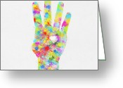 Signal Greeting Cards - Colorful Painting Of Hand Pointing Four Finger Greeting Card by Setsiri Silapasuwanchai