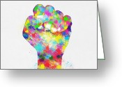 Pointing Greeting Cards - Colorful Painting Of Hand Greeting Card by Setsiri Silapasuwanchai