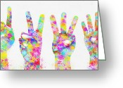 Button Greeting Cards - Colorful Painting Of Hands Number 0-5 Greeting Card by Setsiri Silapasuwanchai
