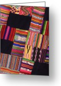 Ethnic Greeting Cards - Colorful Patch Fabric Greeting Card by Jeremy Woodhouse