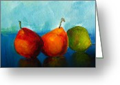 Still Life Greeting Card Greeting Cards - Colorful Pears Greeting Card by Patricia Awapara