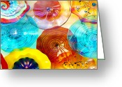 Red Greeting Cards - Colorful Plates Greeting Card by Laura Wrede