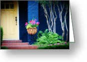 Blue House Greeting Cards - Colorful porch Greeting Card by Toni Hopper