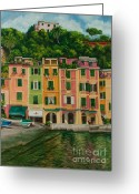 Portofino Italy Artist Greeting Cards - Colorful Portofino Greeting Card by Charlotte Blanchard