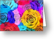 Florist Greeting Cards - Colorful Roses Design Greeting Card by Setsiri Silapasuwanchai