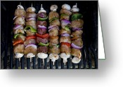 Close Views Greeting Cards - Colorful Rows Of Shishkabobs Cook Greeting Card by Stephen St. John