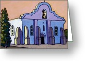 Adobe Pastels Greeting Cards - Colorful San Elizario Greeting Card by Candy Mayer