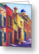 Adobe Pastels Greeting Cards - Colorful San Miguel Greeting Card by Candy Mayer